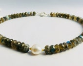 Labradorite Necklace with Pearl, Labradorite Collier