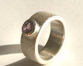 Amethyst Silver Ring, Band Ring