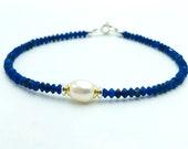 Lapis lazuli bracelet with pearl, silver bicolor