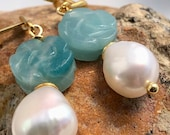 Earrings with baroque pearl and amazonite blossom