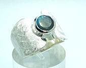 Labradorite Silver Ring, Band Ring