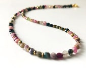 Tourmaline necklace colorful, necklace, gemstone necklace, tourmaline, faceted tourmaline multicolored, silver plated, tourmaline jewelry