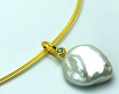 Blue topas pendant with freshwater pearl, silver gold plated
