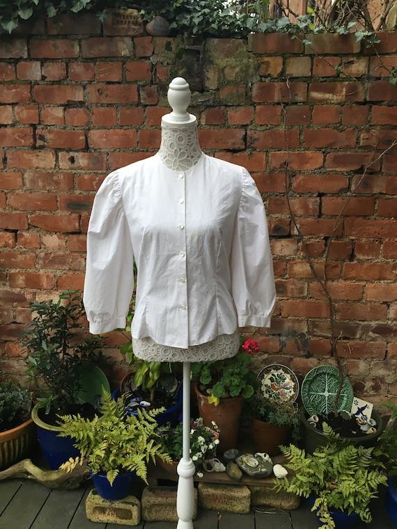 1980s white puff sleeve blouse - image 1