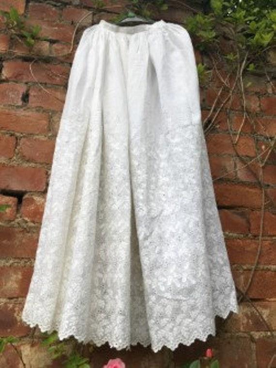 Exquisite antique embroidered underskirt