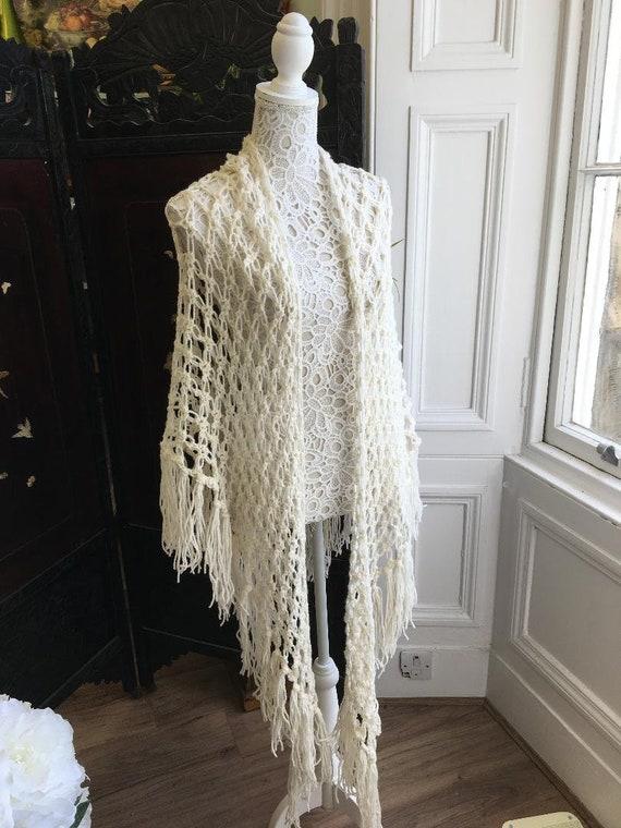 1970s Laura Ashley Welsh wool fringed shawl
