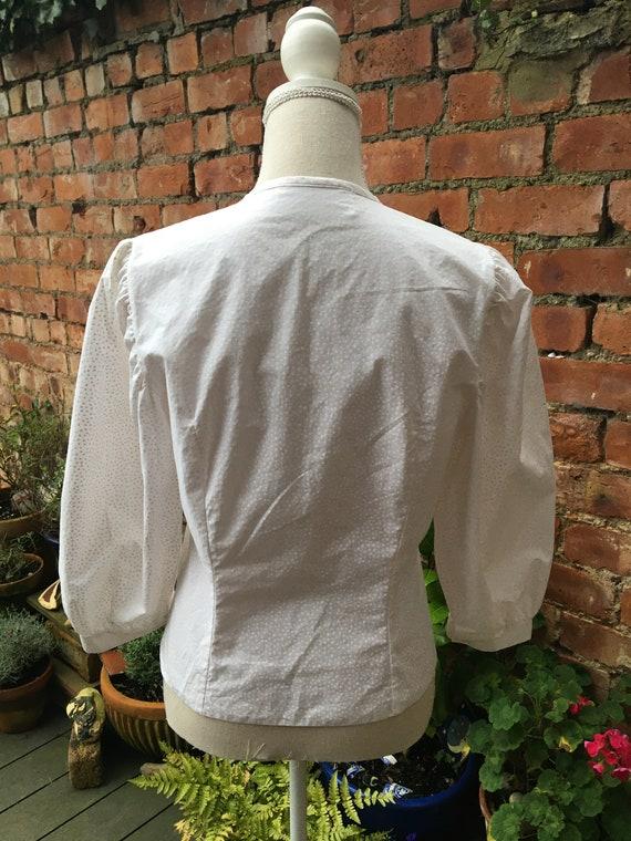 1980s white puff sleeve blouse - image 6