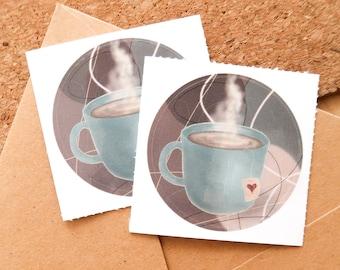 COFFEE / HOT CHOCOLATE Vinyl Sticker set of 2 (round) - Bullet Journal, gifts, art, decoration notebook