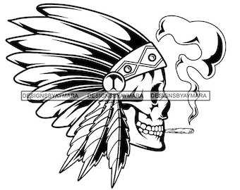 Native American indian headdress with feathers in a sketch style Clipart  Image