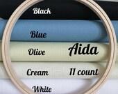 Embroidery fabric, aida fabric for cross stitch fabric for embroidery aida cloth, white aida 11 count, 11 count aida cloth,olive, black aida