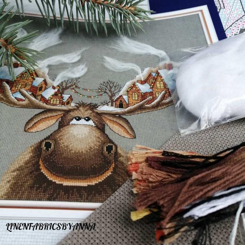 beginner hand embroidery kit modern cross stitch Christmas cross stitch kit wall decor Christmas holiday Christmas cross stitch decor