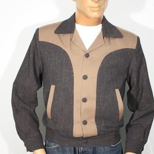 50s Men's Jackets | Greaser Jackets, Leather, Bomber, Gabardine Vintage 1950s reproduction Blue Gabardine and Black Lurex Jacket Size XL / XXL $189.00 AT vintagedancer.com