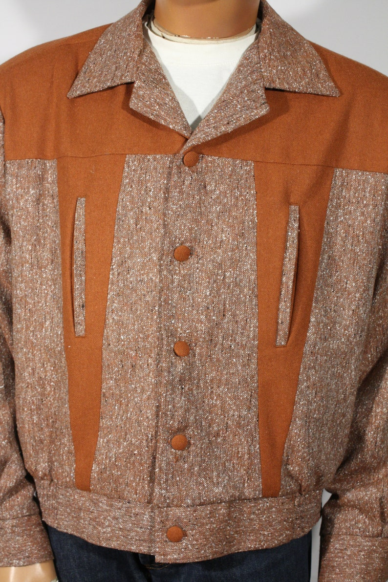 1950s Men's Clothing Vintage 1950s reproduction Buttoned Flecked and Red Brown Jacket Size XL / XXL $189.00 AT vintagedancer.com