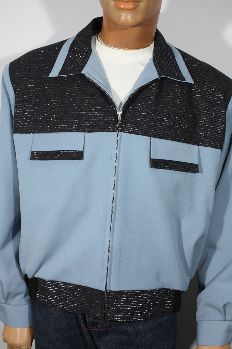 1950s Men's Clothing Vintage 1950s reproduction Blue Gabardine and Black Lurex Jacket Size XL / XXL $189.00 AT vintagedancer.com