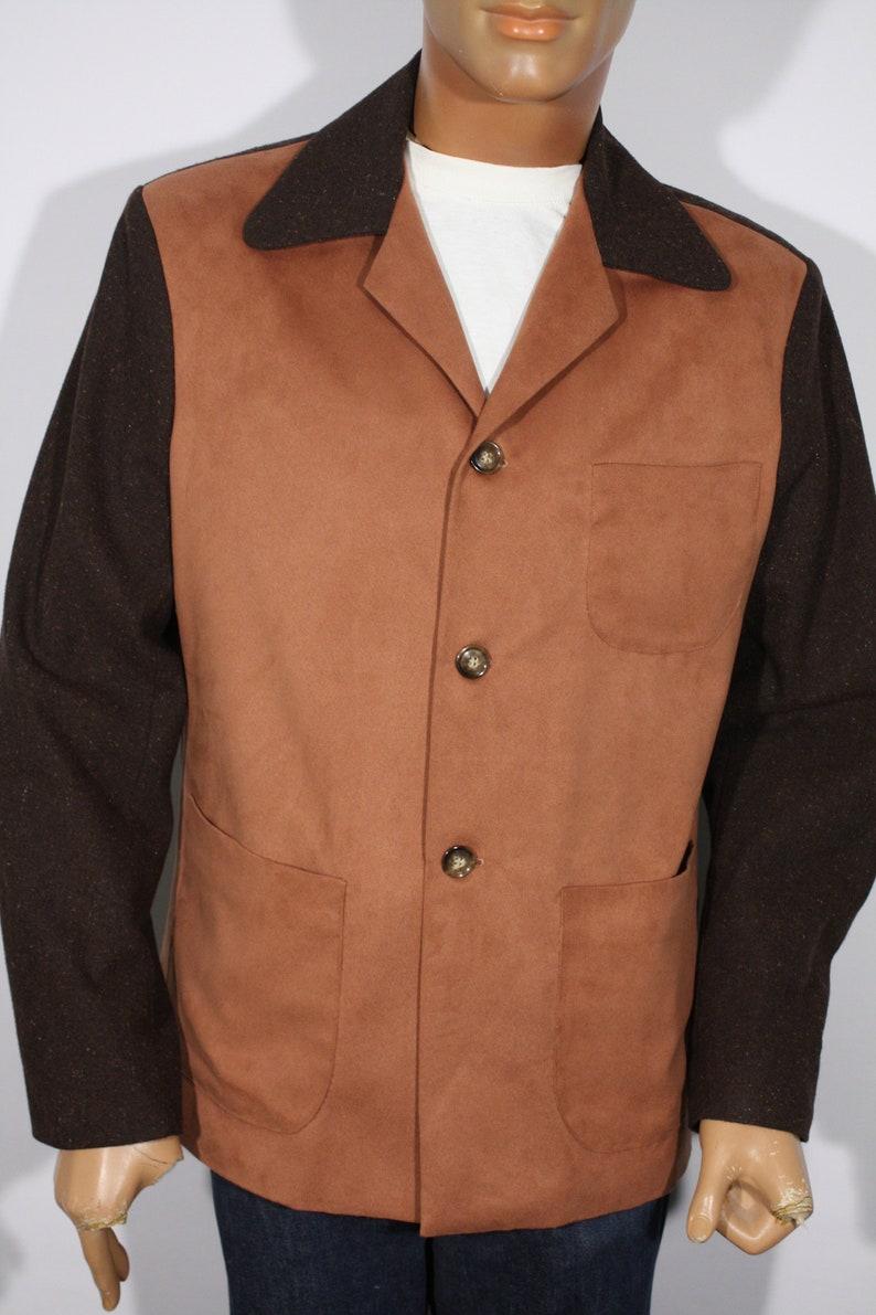 50s Men's Jackets | Greaser Jackets, Leather, Bomber, Gabardine Vintage 1940s 50s reproduction Brown Flecked Hollywood Style Jacket Size M+ $189.00 AT vintagedancer.com