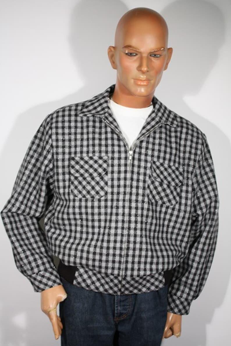 50s Men's Jackets | Greaser Jackets, Leather, Bomber, Gabardine Vintage 1940s 1950s reproduction Black and Gray Plaid Mens Sports Jacket Size L / XL $179.00 AT vintagedancer.com