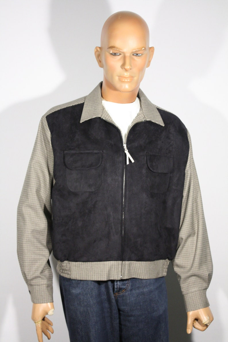 1940s Men's Clothing Vintage 1940s 1950s reproduction Houndstooth Mens Sports Jacket with black faux-suede front Size L / XL $189.00 AT vintagedancer.com