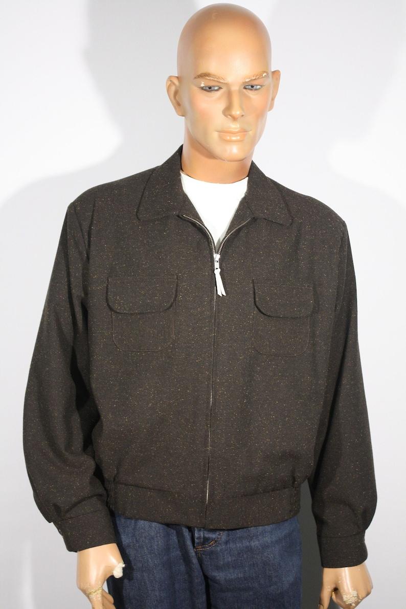 Men's Vintage Jackets & Coats Vintage 1940s 1950s reproduction Dark Brown Flecked Mens Sports Jacket Size L / XL $179.00 AT vintagedancer.com
