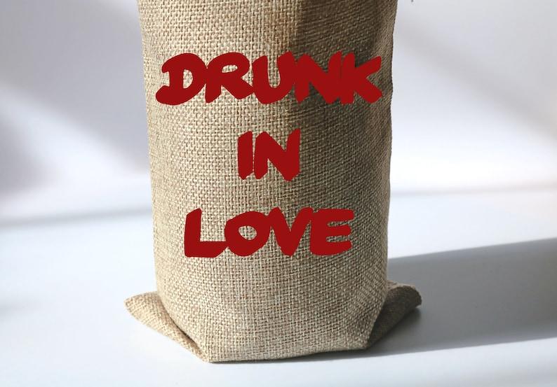 Muslin Bag Large Hen Party Gift Box Sack Beyonce Quote Canvas Bag Bachelorette Party Favor Drunk in Love Bottle Burlap Bag Alcohol Tote