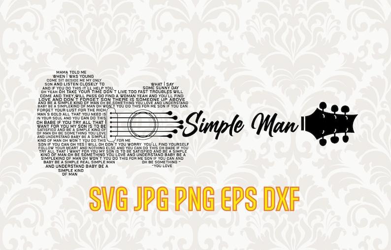rock music fan clipart vector guitar silhouette Simple man lyrics svg song lyrics svg printable wall art