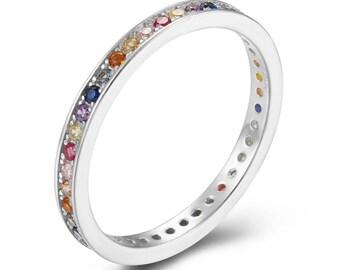 925 Silver jewelry Cubic zircon Black zircon 2mm Summer jewelry by Evermine Stars ring Rhodium silver Spring Fancy Silver ring
