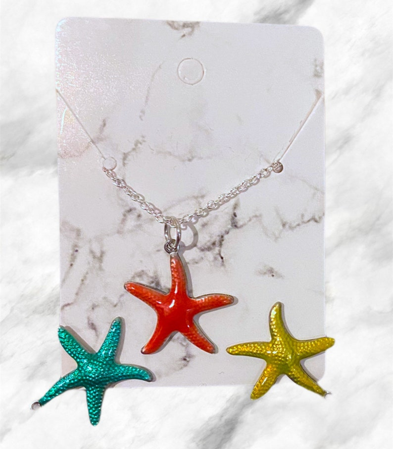 Starfish Chain Necklace Charm Dainty Colorful Feminine Aesthetic Pinterest Jewelry LGBTQ Accessories Easy Gift Custom