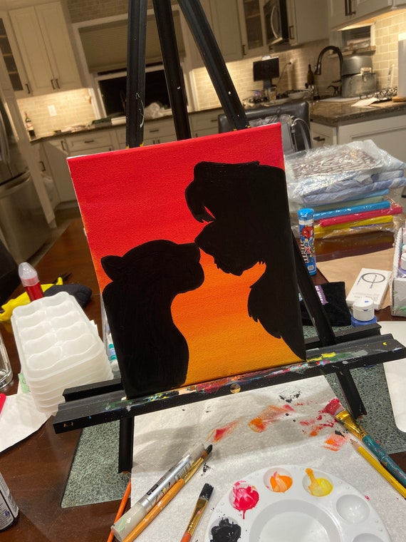 Lion King Silhouette Acrylic Painting Canvas 8x10 Wall Decor Etsy