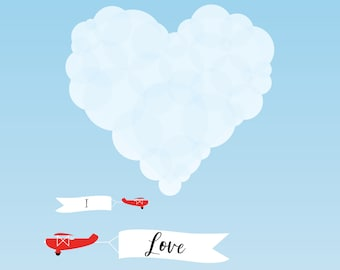 Heart-Shaped Cloud with 'I Love You' Message - Cute Anniversary and Valentine's Day Card