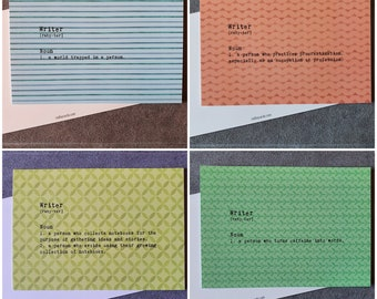 Definitions of Writers Postcards - Set of 4