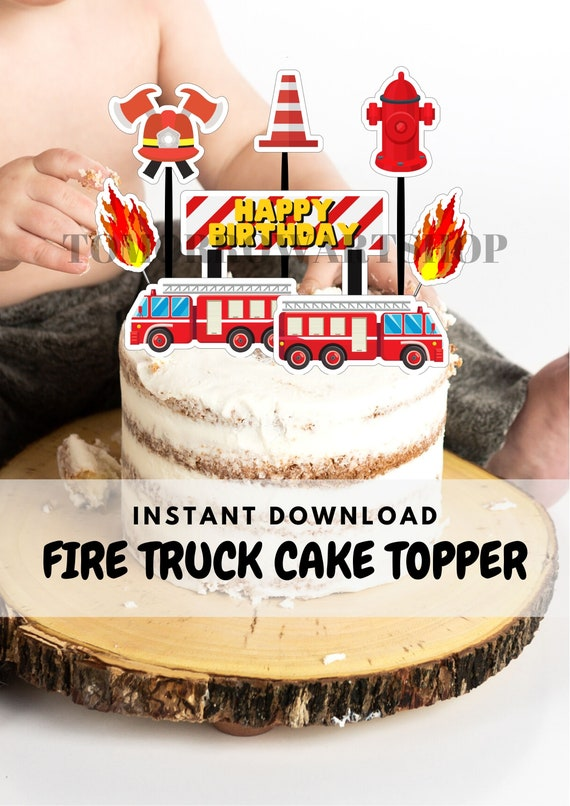 Fire Truck Birthday Cake Topper Template Centerpiece And Etsy