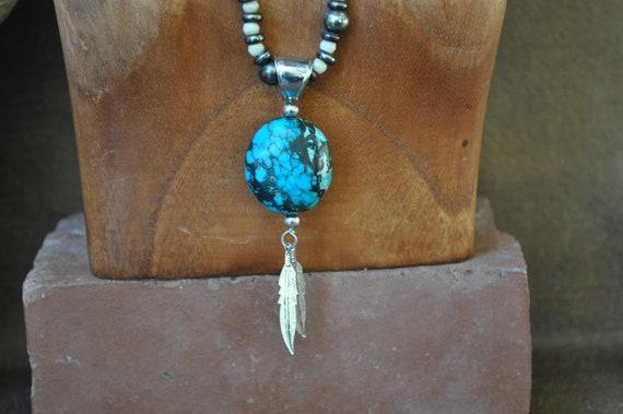 Genuine Turquoise Pendant-Spiderweb Turquoise Neck