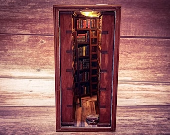 Book Nook Library with Mirror and LED Lighting Kit