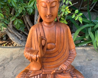 Buddhist Stupa Statue Sculpture Small Wood Décor Blessing Dashboard Hand Carved