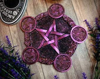 Pentagram altar tray, candle holder, trinket dish