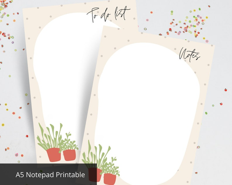 potted plant paper A5 size Cute Things to do and Notes printable A5 to do list stationery notepad A5 office notecard printable notepad
