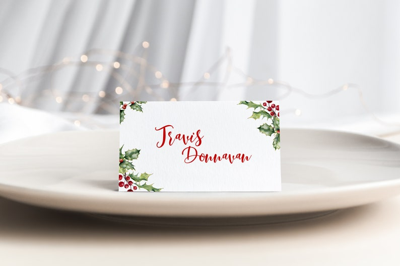 Rustic Christmas Name Card Template Custom Names Christmas Place Card Template Editable Outdoor Seating Card INSTANT DOWNLOAD #PLC11