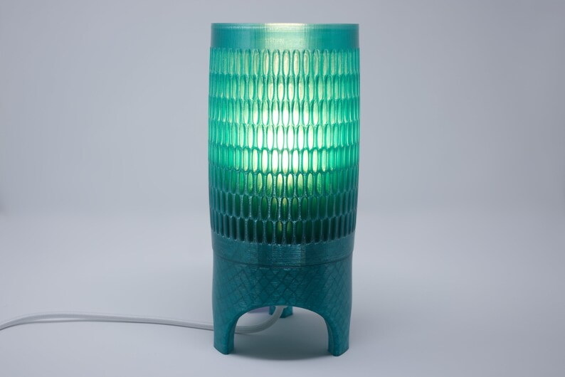 3D printed table lamp recycled plastic with fabric cord Blue