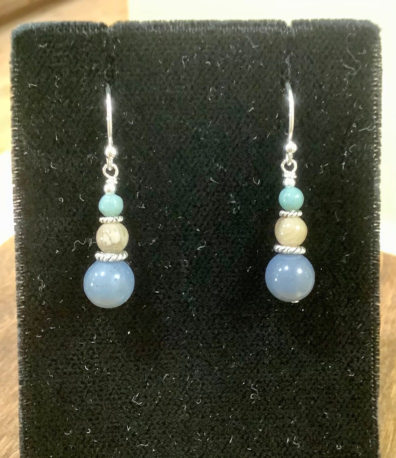 Sterling Silver Leland Blue and Petoskey Stone Graduated Sphere Earrings