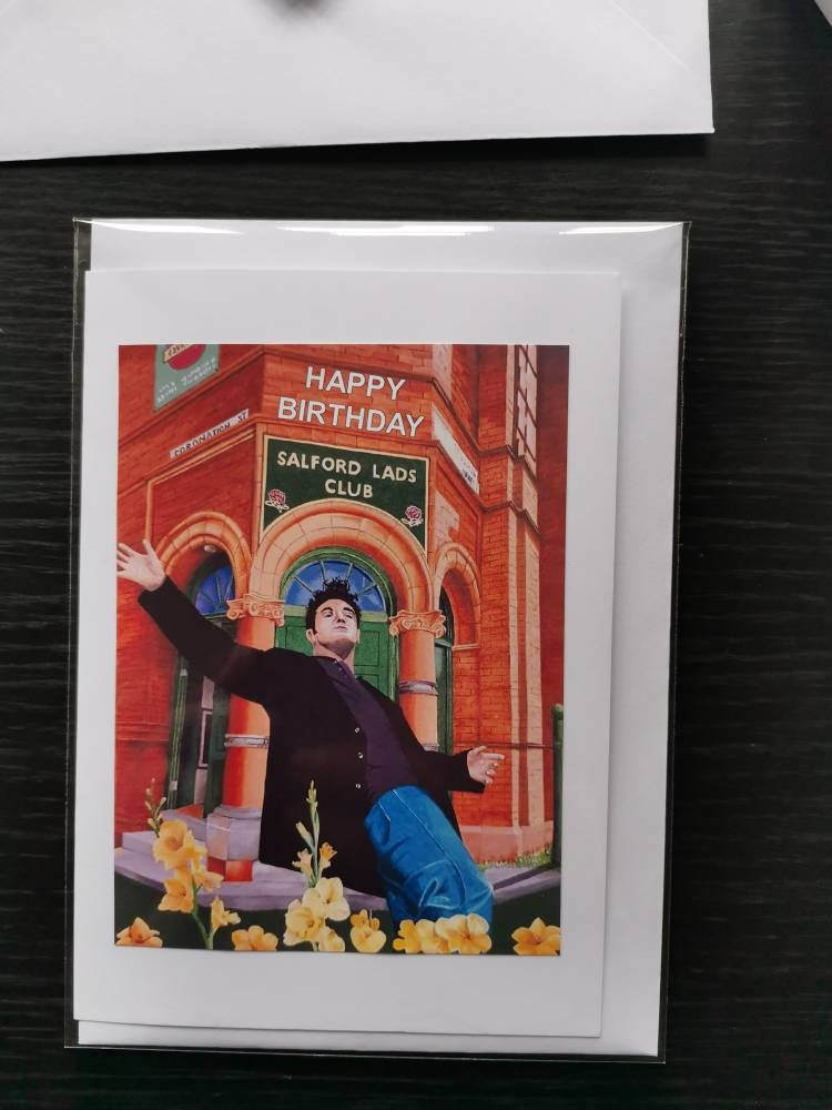 Morrissey The Smiths Hand Drawn Birthday Card.Map Manchester.Blank Inside