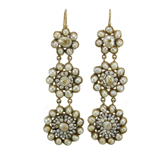 Victorian pearls 14K gold earrings
