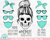 Layered Mom Skull svg Bundle, Messy bun skull svg, Mom life SVG, Momlife skull Svg, Mask Skeleton, Svg Files For Cricut, silhouette cameo