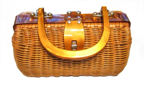 1950's vintage wicker basket purse with lucite han