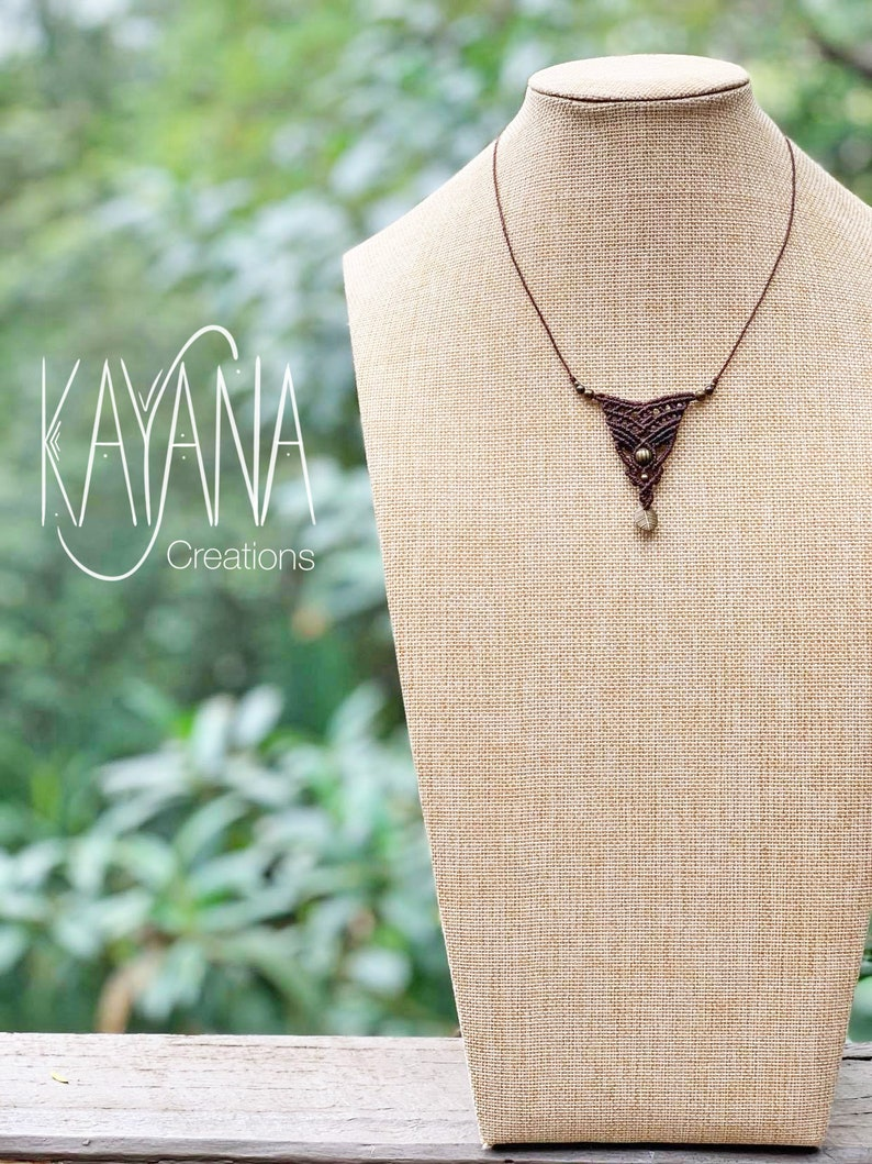 Handmade brown and bronze leaf pendant macrame necklace