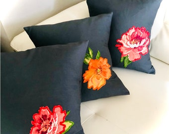Handcrafted Gray floral Aplique cushion covers set of 3/ home decor/ hostess gift/ accessories/ living room decorations