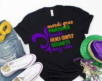 Parade Shirt Fleur De Lis Shirt Mardi Gras Shirt King Cake Leopard Print Mardi Gras Shirt Mardi Gras Gnomes Shirt Parade Raglan