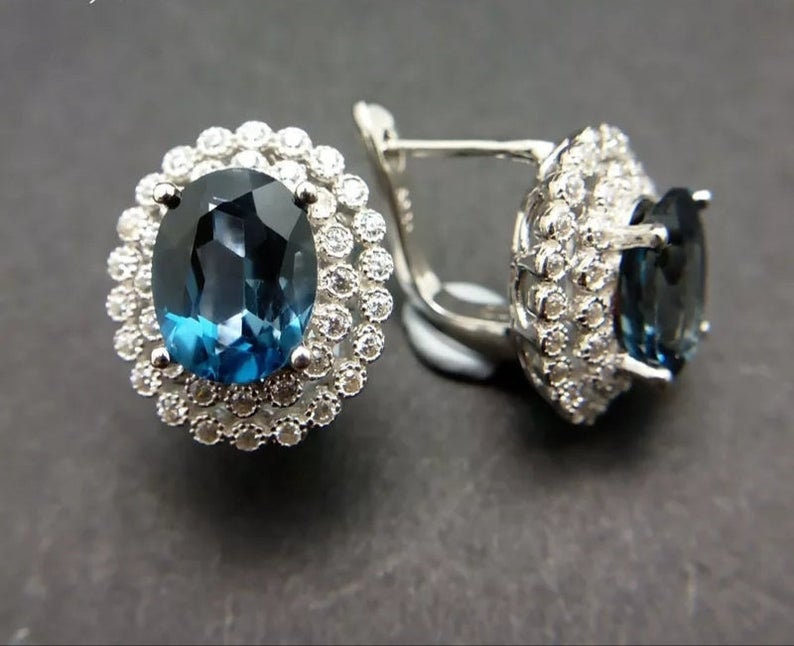 Engagement Gift Daily Wear Genuine London Blue Topaz Double Halo Earrings in Platinum Over Sterling Silver Gift For HER Birthday gift