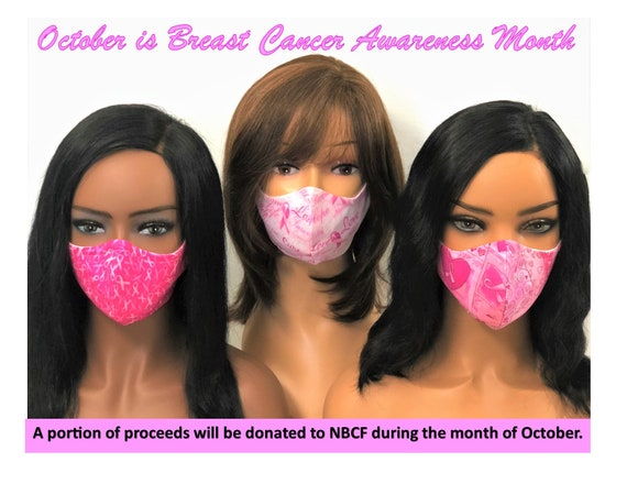 Breast Cancer Awareness Breast Cancer Washable Reusable Face Mask 100/% Cotton