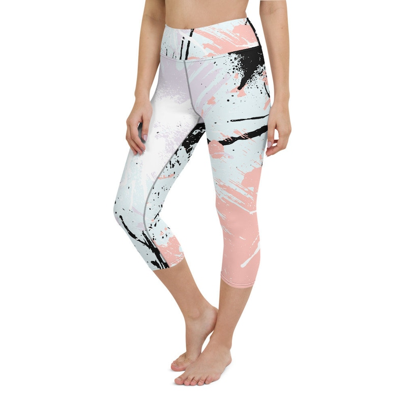 Paint Splatter Yoga Capri Leggings Athletic Workout Stretch Pants Fitness Workout