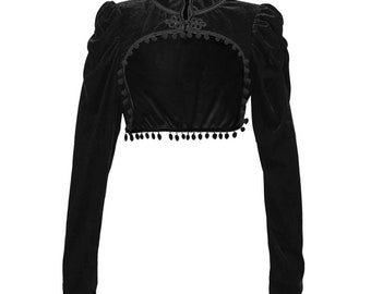Black Tie Neck Victorian Gothic Evening Shrug Bolero Cropped 253 mv Jacket S M L