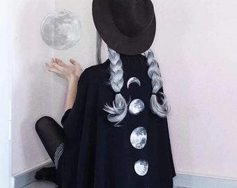 Crescent Moon Pattern Print Cape, Dark Gothic Ponchos
